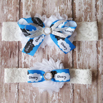 Okay Garter Set | The Fault In Our Stars Wedding Garters | Bridal Garter and Toss Garter