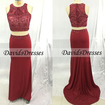 Two Piece Prom Dress 2016, Sexy Red Prom Dresses Beaded, Custom Made Prom Dress