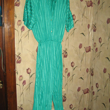 Vtg 70s Lady Cameo turquoise blue striped nylon Jumpsuit Catsuit Lounger Romper size large