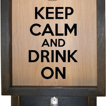 "Wooden Shadow Box Bottle Cap Holder with Bottle Opener 9""x15"" - Keep Calm and Drink On w/Mug"