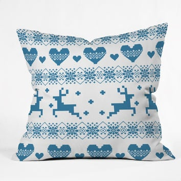 Natt Knitting Blue Deer With Hearts Throw Pillow