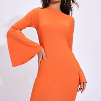 Orange Turtle Neck Dress With Extreme Flare Sleeves