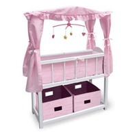 Badger Basket Pink Gingham Canopy Doll Crib with Baskets, Bedding, and Mobile - Baby Doll Furniture at Hayneedle
