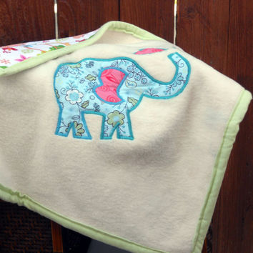 Retro zoo animals blue elephant baby blanket by ValkinThreads2