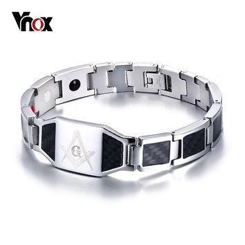 Vnox Masonic Carbon Fiber Men Health Care Bracelet Bangle Magnetic Energy Power Stainless Steel Bracelets Jewelry for Man