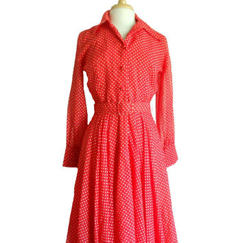 Vintage Dress 1970s Red and White Polka Dot Shirt Dress Midi Length with Sheer Long Sleeves and Matching Belt - Size 12 M