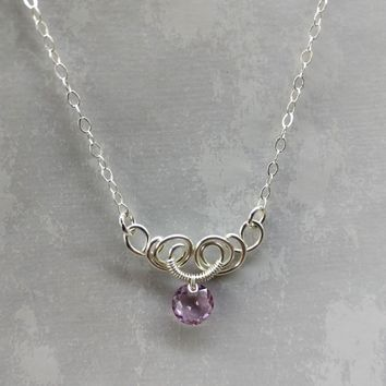 Silver Wire Sculpted Round Light Purple Crystal Pendant Necklace