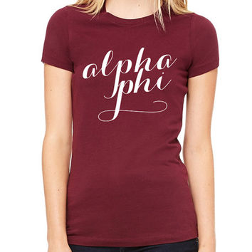 Script Tee // ΑΦ // Alpha Phi // Choose Your TShirt Color!