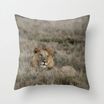 The Lion Is King Throw Pillow by Minx267