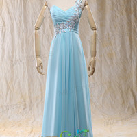 Sweetheart one shoulder sky blue Chiffon Evening Dress With Appliques