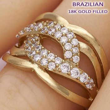 Gold Layered Women Twist Multi Stone Ring, with White Cubic Zirconia, by Folks Jewelry