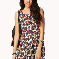 Dropped Waist Rose Print Dress