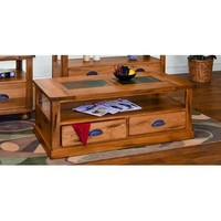 Sunny Designs Sedona Coffee Table with Drawers & Casters In Rustic Oak