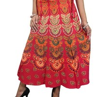 Red Wrap Skirt Barmeri Print Cotton Gypsy Hippie Wrap Around Skirts Dress