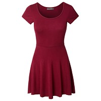 Casual Short Sleeve Fit and Flare Asymmetrical Skater Dress