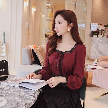 Dabuwawa Autumn Winter Shirt 2018 New Vintage Sweet Lace Bow Button Square Collar Puff Sleeve Solid Shirt Top