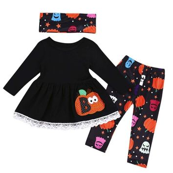 Baby Girls Clothes Set Halloween Costume For Kids Pumpkin Long Sleeve Tops+Pants+Scarves 3Pcs Toddler Girl Clothing Outfits Set
