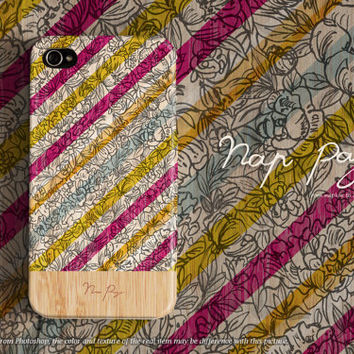 Apple iphone case for iphone iphone 5 iphone 5s iphone 5c iphone 4 iphone 4s iPhone 3Gs : flowers with colorful stripe wood (not real wood)
