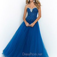 Sweetheart Laced With Tulle Ball Gown Blush Prom Dress 5413