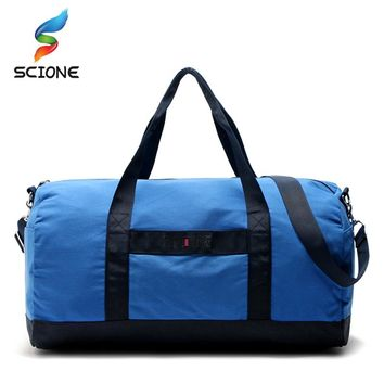Large Capacity Canvas Gym Sports Bag Fitness Men Women Training Handbag Travel Camping Hiking Duffles Luggage Bags