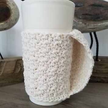 Cream Handled Coffee or Tea To Go Cup Mug Cozy Sleeve Beverage Insulator