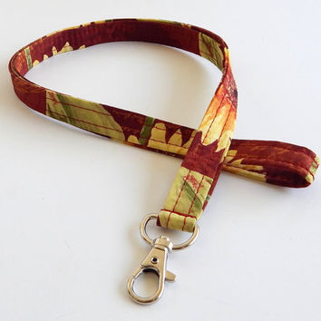 Sunflower Lanyard / Harvest / Autumn Keychain / Sunflowers / Rust Red / Key Lanyard / Fall / ID Badge Holder / Fabric Lanyard / Floral Print