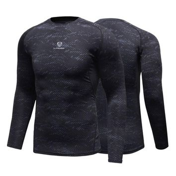 Fitness Compression Shirt Men Gym Sports Bodybuilding Long Sleeve 3D T Shirt Tops Shirts