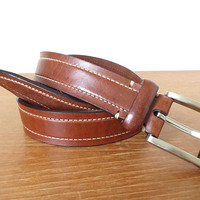 Men's Cole Haan 30mm brown leather belt with silver buckle, size 42