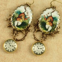 White Rabbit Earrings Alice in Wonderland