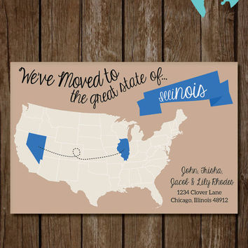 Printable We've Moved Announcement - DIY Moving - State Map - Housewarming Gift