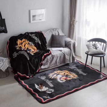 Gucci Fashion Tiger Print Warm Hairy Carpet Seat Pad Fur Plain Fluffy Area Rugs Washable Square