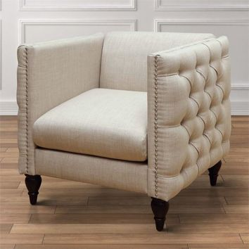 Beige Accent Chairs with Arms
