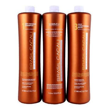 BRAZILIAN KERATIN TREATMENT CADIVEU BRASIL CACAU 3 X 750ml KIT. FRACTIONAL SALE.