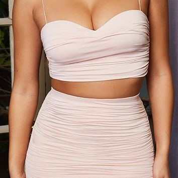 Friday Feeling Sleeveless Spaghetti Strap Sweetheart Neck Ruched Crop Top Two Piece Bodycon Mini Dress - 2 Colors Available