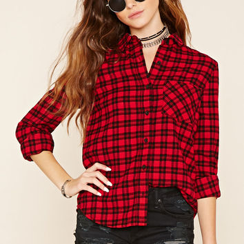 Button-Front Plaid Shirt