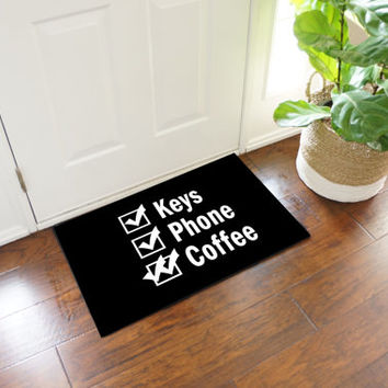 Keys Phone Coffee Reminder Door Mat