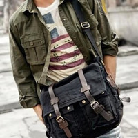 Black Vintage Military Bag with Leather Accents