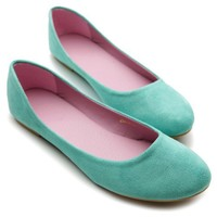 Ollio Womens Shoe Ballet Light Faux Suede Low Heels Flat(7.5 B(M) US, Sea Green)