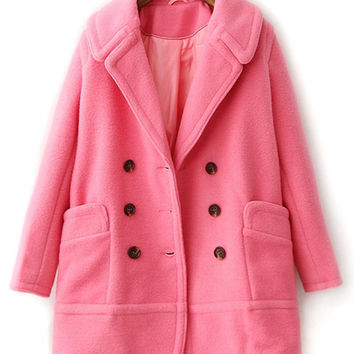 Pink Lapel Double Breasted Pocket Long Sleeve Wool Coat