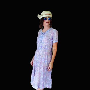 Girl Grunge Dress 1950s Vintage - Sheer Cotton Day Dress - Fun Casual Berkshire