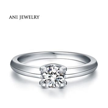 ANI 18K White Gold (AU750) Wedding Ring 0.5 CT Certified I/SI Natural Solitaire Round Cut Diamond Jewelry Luxury Engagement Ring
