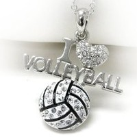 Amazon.com: Silvertone Crystal I Love Volleyball Pendant Necklace Fashion Jewelry: Jewelry