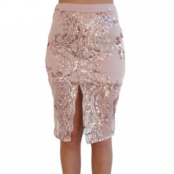 Gold sequin mesh pencil skirt