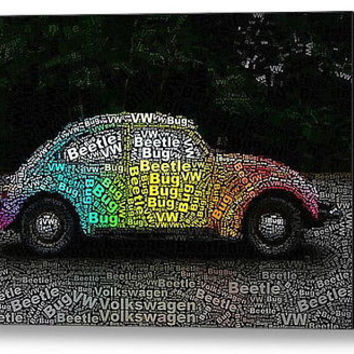 Volkswagen VW Bug Beetle Word Mosaic wild Framed 9X11 Limited Edition Art w/COA