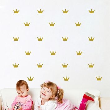 Free shipping 36 pcs Crown pattern wall paste sticker for kid's bedroom decorate wall sticker Princess baby girl wall decor