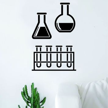 Science Beakers V3 School Class Decal Sticker Wall Vinyl Art Home Room Decor Teacher Smart Think Chemist Teen Kids