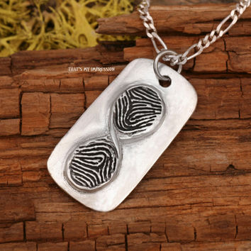 Custom Mini Infinity Fingerprint Pendant Sterling Silver Jewelry or Keychain Personalized Jewelry