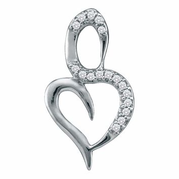 10kt White Gold Women's Round Diamond Small Heart Pendant 1-20 Cttw - FREE Shipping (US/CAN)