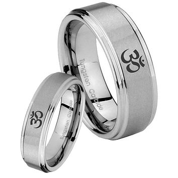 His and Hers Step Edge Ohm Design Om Yoga Tungsten Silver Wedding Rings Set