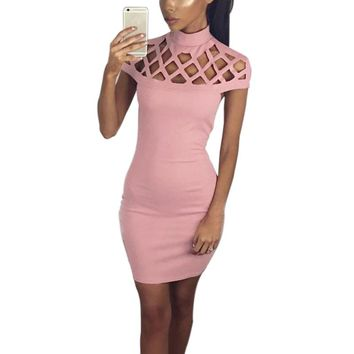 Women's Fashion Pink Club Dresses Sexy Hollow Out Short Sleeve Turtle Neck Bodycon Strechy Party Vestidos Autumn Clothings LX108